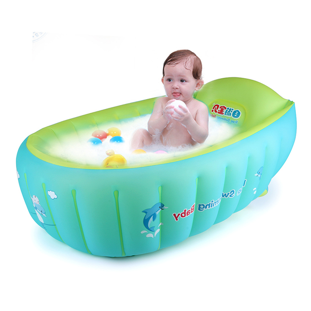 2017 New Baby Inflatable Bathtub Swimming Float Safety Bath Tub Swim  Accessories Kids Infant Portable Folding