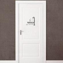 Creative Bath Bathing Shower Bathtub Vinyl Door Sticker Waterproof Wall Stickers Home Decor Living Room A2291