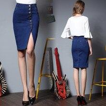 e4af1a56dff 2019 Летняя женская Облегающая джинсовая юбка джинсовая женская сексуальная  миди прямая юбка Однотонная юбка-карандаш