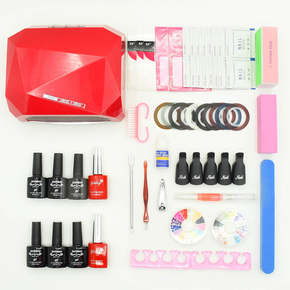 Jewhtieny 6 color uv gel polish lacquer 10ML 36w uv led lamp manicure nail art diy nail tools sets kits nail base top gel kit cnhids in 24w professional 9c uv led lamp of resurrection nail tools and portable package five 10 ml soaked gel nail polish