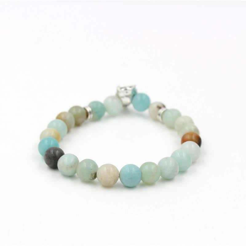 DROP Shipping Desain Baru Mens Mala Naga Yoga Perhiasan Terbaik 8 Mm Amazon Stone Bead Serigala Pesona Keberanian Elastis gelang