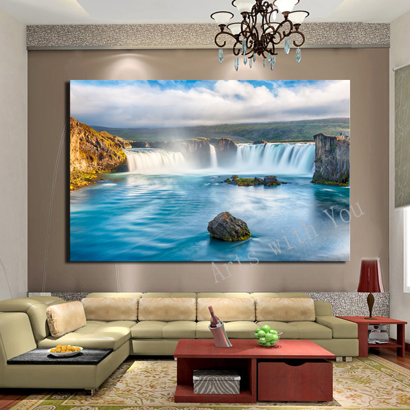 Atfipan large hd decorative art waterfall oil painting on - Large pictures for living room ...