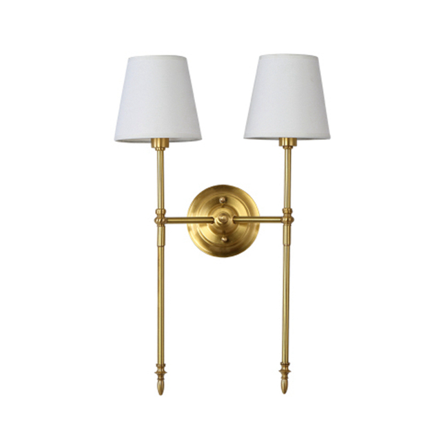 Amerika Sytle 2 Arm Kupfer LED Wandleuchte Messing Mit Led Lampe Mode Schlafzimmer Licht Wohnzimmer Warm