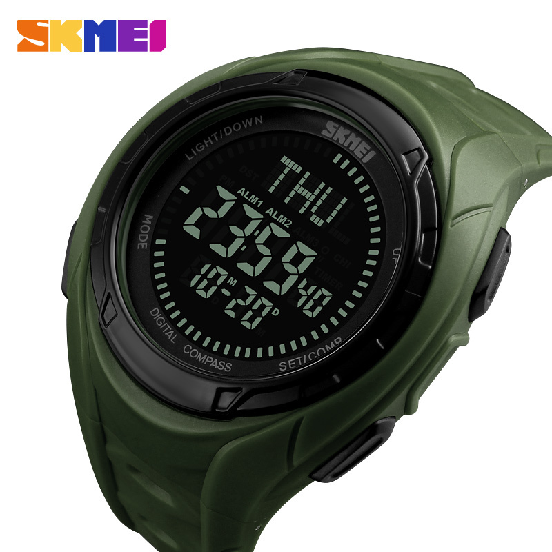 SKMEI Compass Men's Digital Watch 3 Alarm Outdoor Sports Watches Countdown Stopwatch 50M Waterproof Wristwatch Relogio Masculino