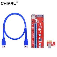 CHIPAL 10 stücke VER007S PCI E Riser Karte 007S PCI Express 1X zu 16X Extender Adapter 1M 0,6 M USB 3,0 Kabel 15Pin SATA Power Kabel