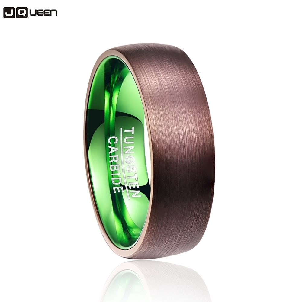 Valentine's Day Deals Popular Plated Brown Green Dome Tungsten Carbide Ring Fashion Retro Engagement Ring Jewelry For Men image