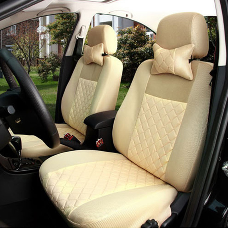 2 front seat Universal car seat covers For Lexus ES IS GS GX LS CT LX RX RC F NX RX580 beige/gray car accessories auto stickers ...