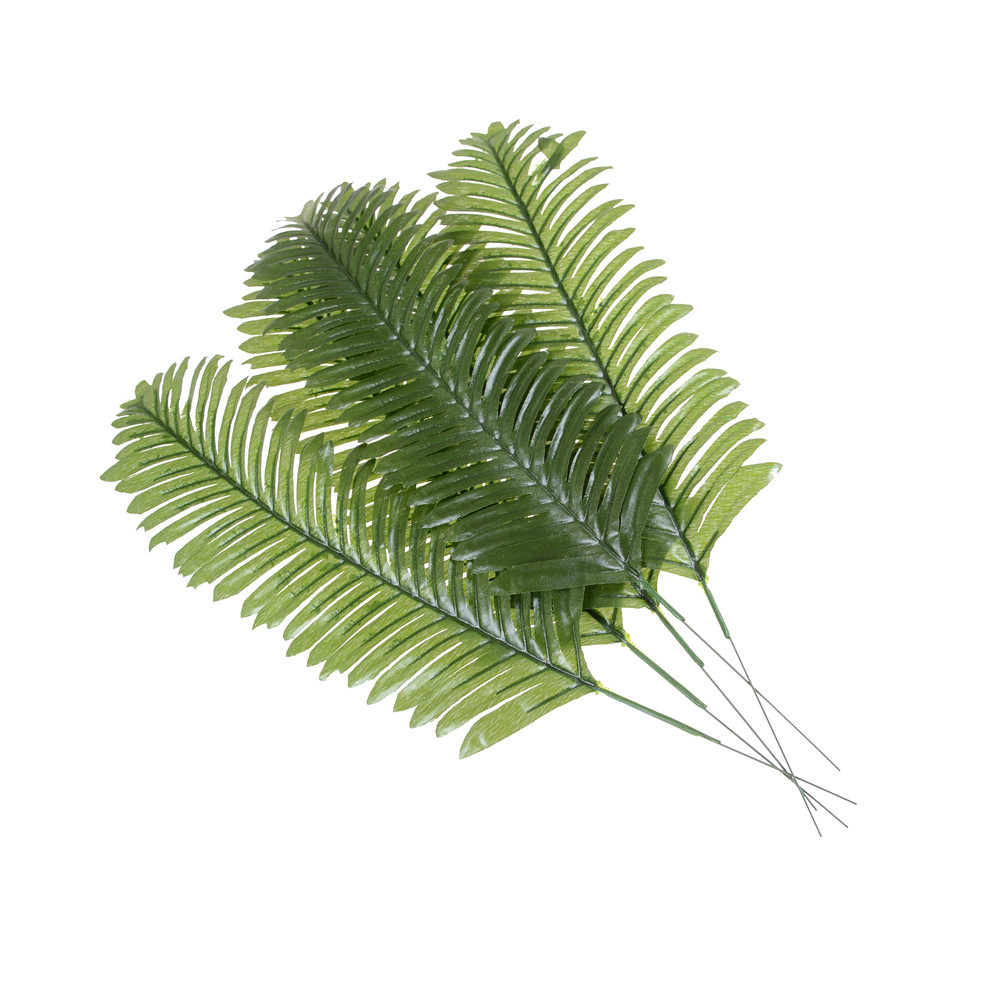 Fake Palm Tree Leaf Artificial Fake Plastic Leaves Green Plants Greenery for Floral Flower Arrangement Flore Wedding Decoration