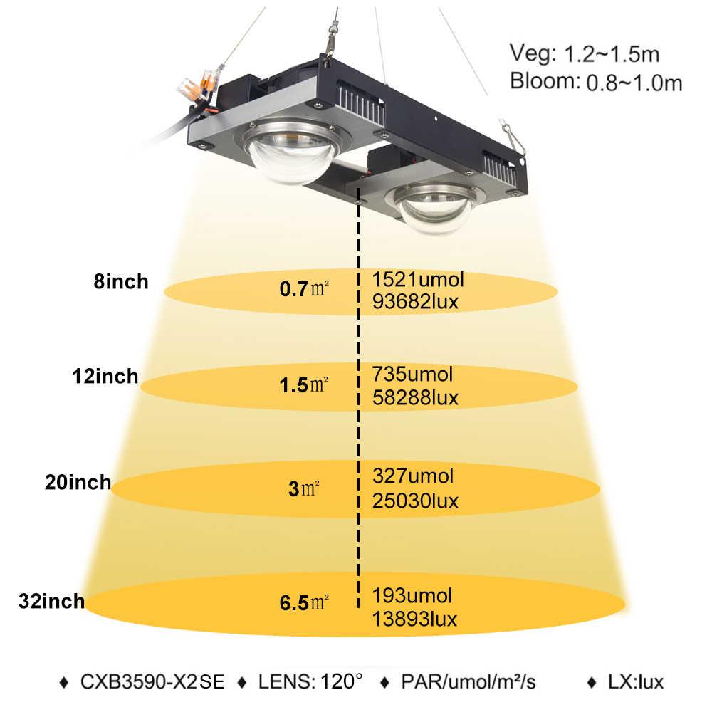 CF GROW CXB3590 LED crece la luz de espectro completo 200W Citizen llevó la lámpara del crecimiento de la planta 3000K 3500K 5000K para la planta hidropónica de la tienda interior