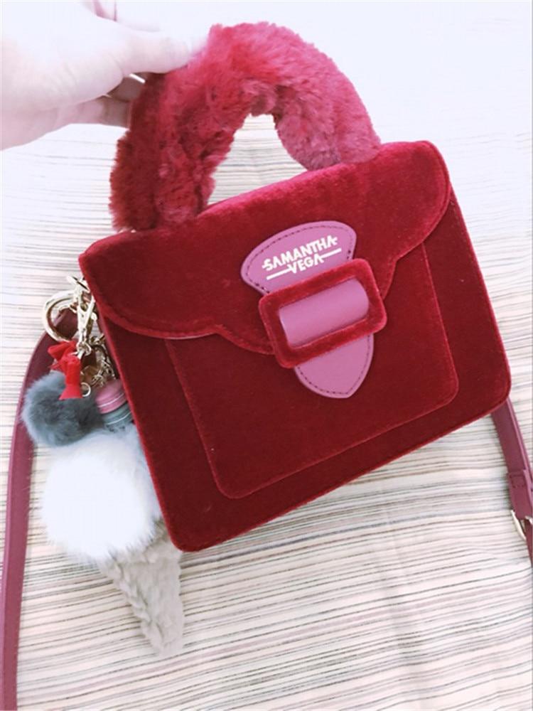 17 Christmas limited velvet suede handbag Samantha Vega plush handle organ shoulder bag Retro small flap square Messenger bag 6