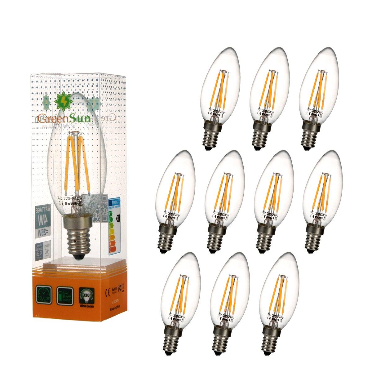 10Pcs E14 4W Edison Style LED COB Filament Candle Light Lamp Energy Saving Bulb glass led filament bulb home lighting ampoule led e14 candle energy saving lamp light bombilla led e27 cob 220v 2w 4w 6w 8w