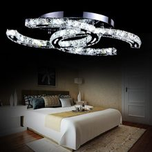 Modern Stainless Steel Dimmable Remote Control LED Ceiling Light Fashion Brief Living Room Creative LED Crystal Ceiling Lamp(China)