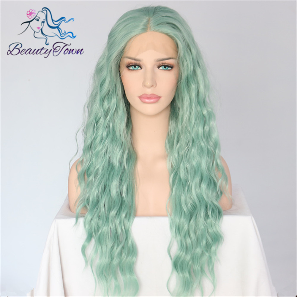 BeautyTown Green Color Curly Type Long Heat Resistant 150% Density Daily Makeup Synthetic Lace Front Party Wigs Holiday Gift