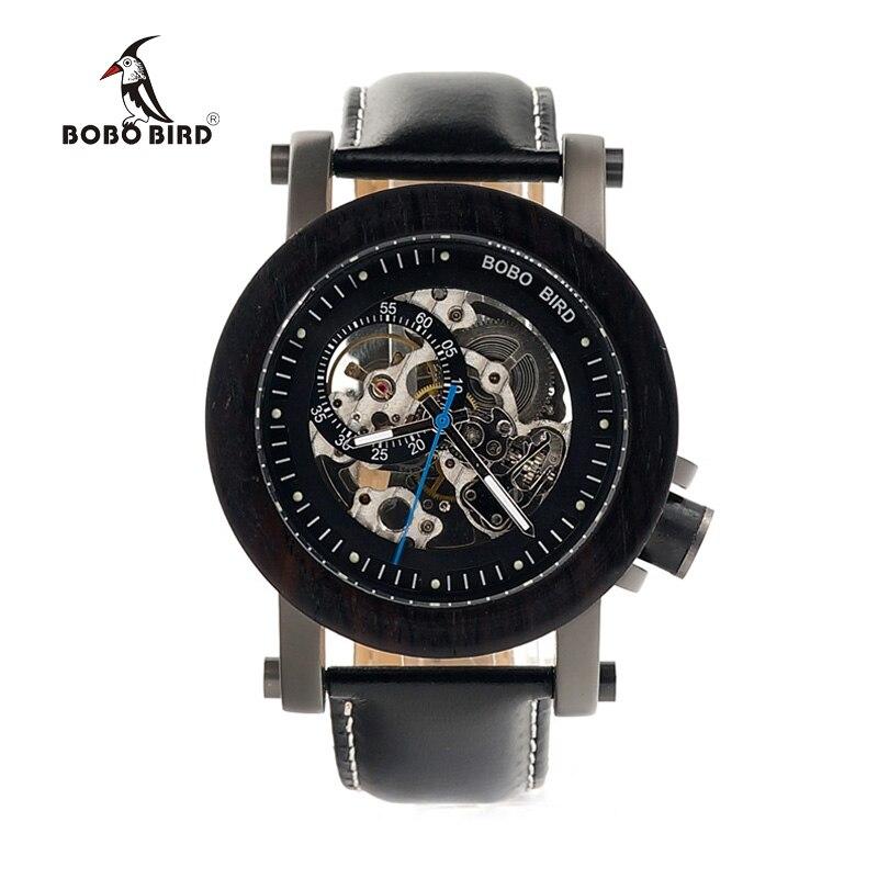 BOBO BIRD Luxury Brand Men s Mechanical Watches Black Wooden Watch Genuine Leather Strap relogio masculino