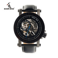 BOBO BIRD Luxury Brand Men Mechanical Watches Black Wooden Watch Genuine Leather Strap Relogio Masculino Wooden