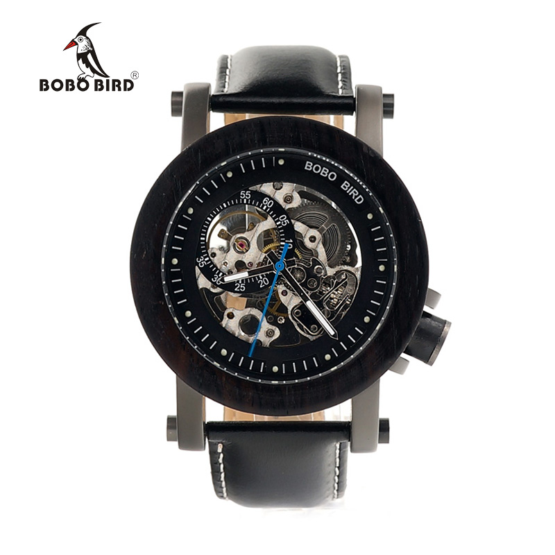 BOBO BIRD Luxury Brand Men's Mechanical Watches Black Wooden Watch Genuine Leather Strap relogio masculino Wood Gifts Boxes K10 ultra luxury 2 3 5 modes german motor watch winder white color wooden black pu leater inside automatic watch winder
