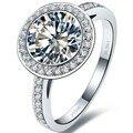 3ct Классический SONA Синтетических алмазов кольцо для женщин обручальное кольцо PT950 штампованные стерлингового серебра белого золота Покрытие обручальные кольца