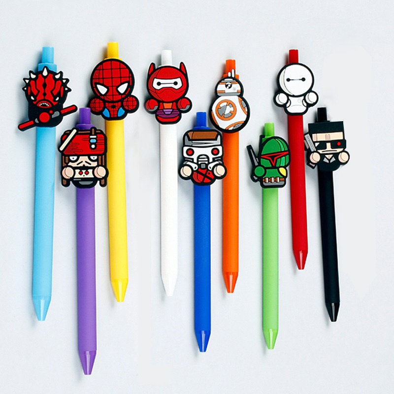 36pcs lot creative cartoon characters Spider Jack 9 styles black ink gel pen promotion gift unisex