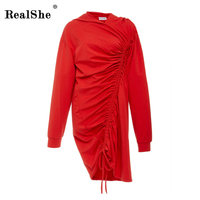 RealShe Red Hoodies Women New Autumn Winter Ties Pleated Long Sleeve Top Tracksuit High End Chic
