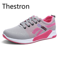 Thestron Womens Running Shoes Fly Weave Breathable Women Sport Shoes Original Sneakers Gray Black Blue Athletic