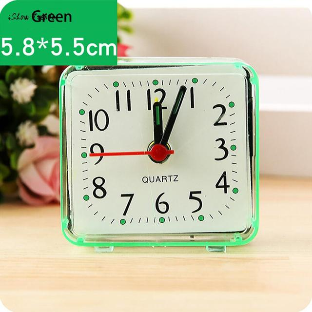 ISHOWTIENDA New 1PC 5.8x5.5cm Square Small Bed Compact Travel Quartz Beep Alarm Clock Cute Portable
