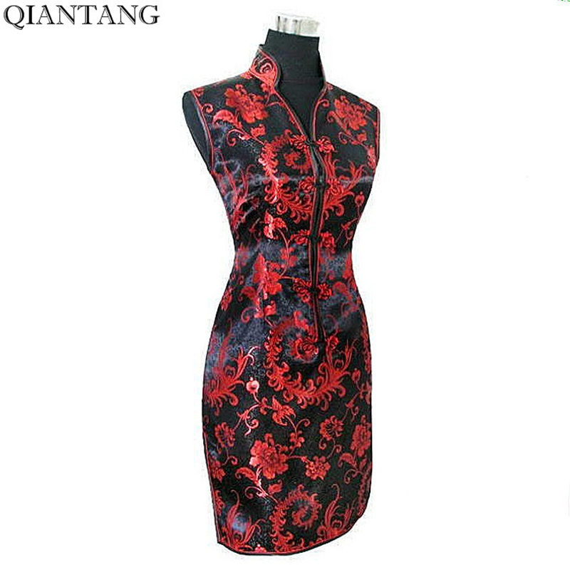 Black Red Traditional Chinese Dress Mujer Vestido Womens Satin V-Neck Cheongsam Mini Qipao Flower Size S M L XL XXL XXXL JY012-6