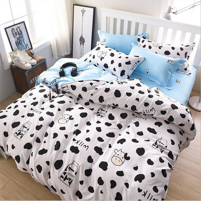 Cow Printed Bedding Sets Bedclothes Cotton Duvet Cover Set Pillowcases Bed  Linens Flat Sheets Gifts Home