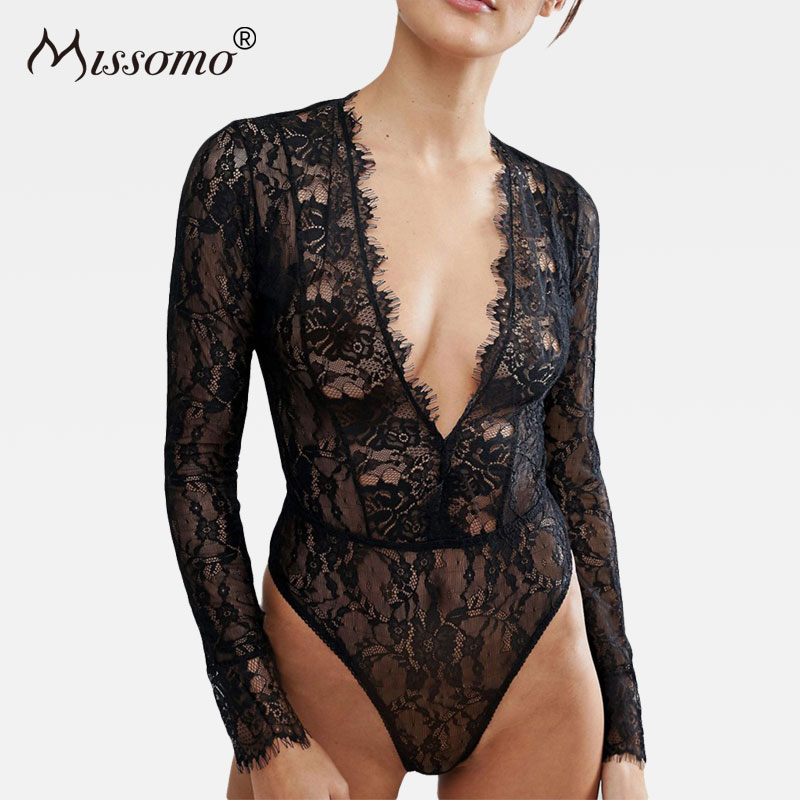 Missomo 2018 New Perspective High Waist Women Lace Bodysuit Slim Sexy Long Sleeve Skinny Romper Body Mesh Jumpsuit