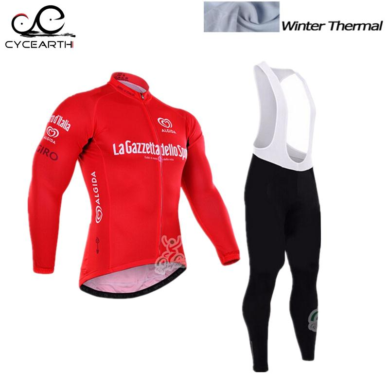 ФОТО Tour De Italy 2016 Long Sleeve Winter Thermal Fleece Cycling Jersey Warm Winter Bike Cycling Clothing Bicycle Bib Pants Set