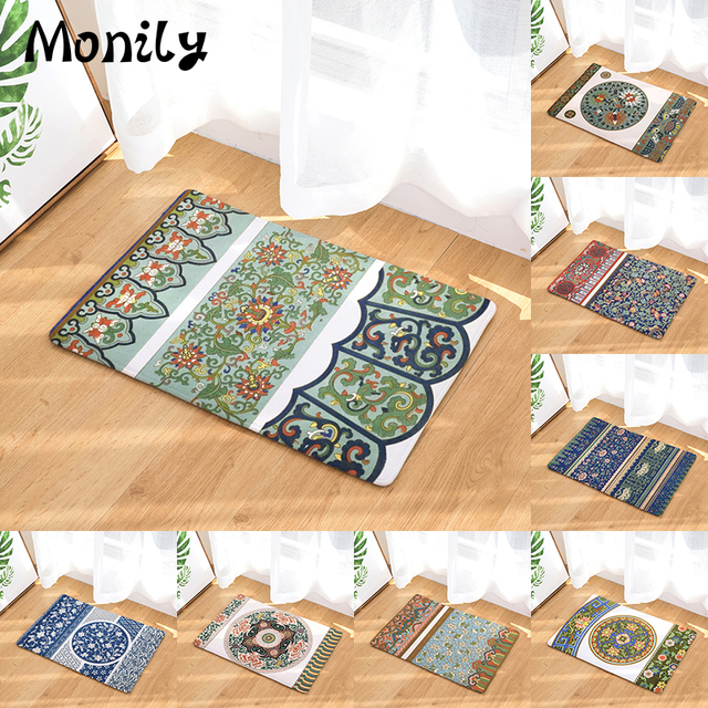 Monily Entrance Waterproof Door Mat Geometry Boho Flowers Kitchen Carpets Bedroom Rugs Decorative Stair Mats Home Decor Crafts