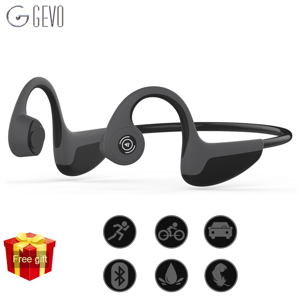 GEVO Conduzione Ossea Cuffie Bluetooth 5.0 Auricolare Senza Fili di Sport Esterno A Cancellazione di Rumore Auricolare Con Microfono Per Il Telefono
