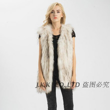 S1540 Lady Real Raccoon Fur Vest Long Or Women Winter Fur Knitted Gilet Wholesale / Retial