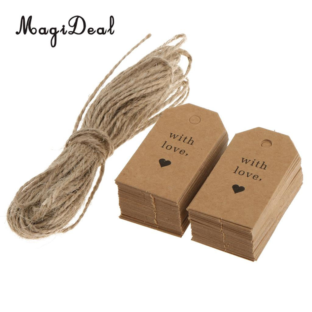 100pcs Romantic Wedding Love Heart Kraft Hanging Tags Label Luggage Valentines Day Cards Gifts Tags with Twine 3 x 5.5cm