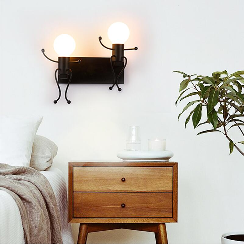Creative personality simple modern living room bedroom bed lamp art human body corridor lighting children's room wall lamp creative lamp the dog contemporary and contracted study lamp bedroom the head of a bed folding the mywood art lighting