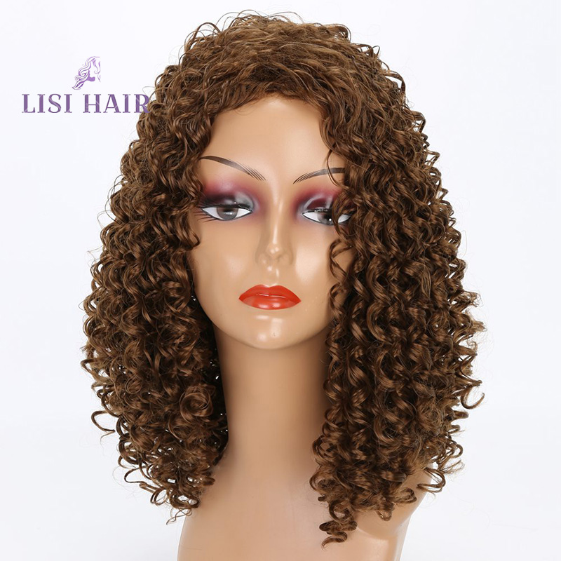 Us 11 34 40 Off Lisi Hair 18 Inch Brown Medium Curly Hair Wig Synthetic Wigs For Black Women Heat Resistant Natural Black Red Hair Average Size In
