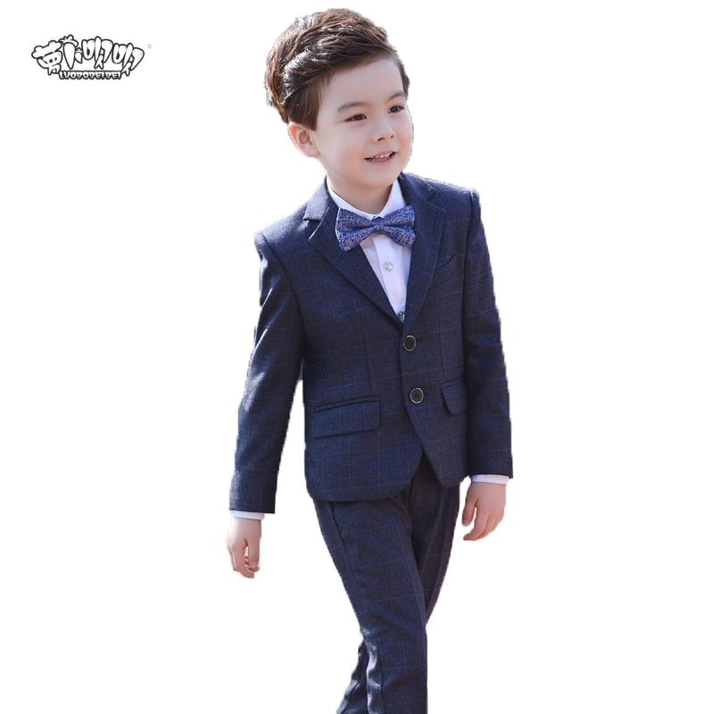 Brand Flowers Boys Formal Suit Wedding Birthday Party Dress Kids Blazer Shirt Vest Tuxedos Children Prom Performance Costume