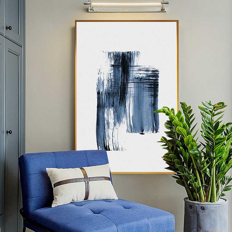 Biru Modern Cat Air Lukisan Kanvas Cetak Poster Biru Dekorasi Rumah Nordic Dinding Seni Gambar untuk Ruang Lorong Abstrak