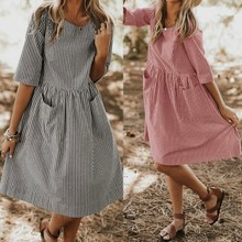 2019 Summer Dress Cotton New neck round Large Size Dresses  casual striped pocket loose female