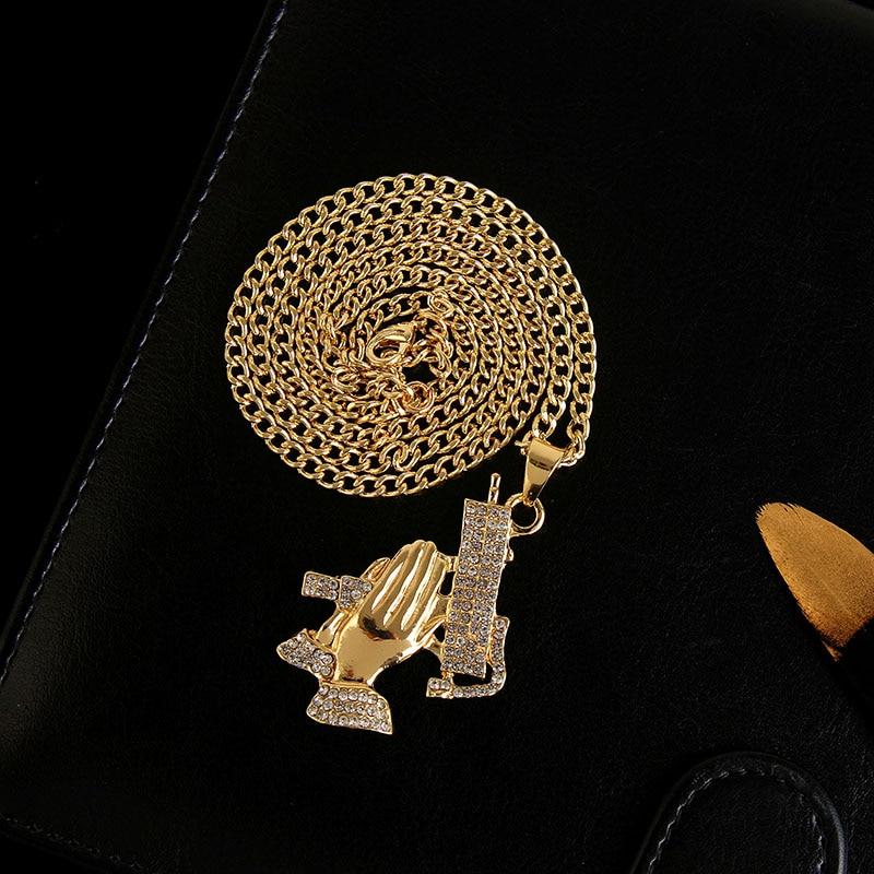 Хип-хоп ювелирные изделия Модные золотые длинные цепочки ожерелья для женщин и мужчин персонализированные буквы Орел молитвенный знак карта кулон ожерелье