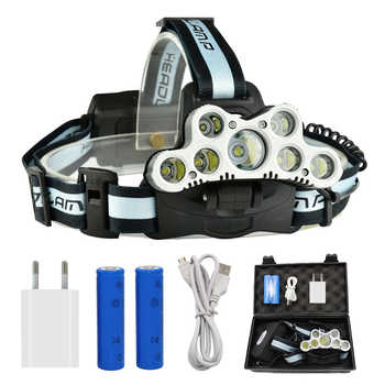 7 LED Powerful 5x T6 + 2x Q5 LED Headlamp Tactical Headlight Rechargeable Head Lamp Fishing Light + 2x 18650 Battery + Charger - DISCOUNT ITEM  41 OFF Lights & Lighting