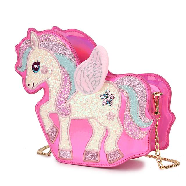 Fashion Mochila De Unicornio Sequin Pu Leather Girl's Chain Purse Shoulder Bag Tote Crossbody Mini Messenger Bag