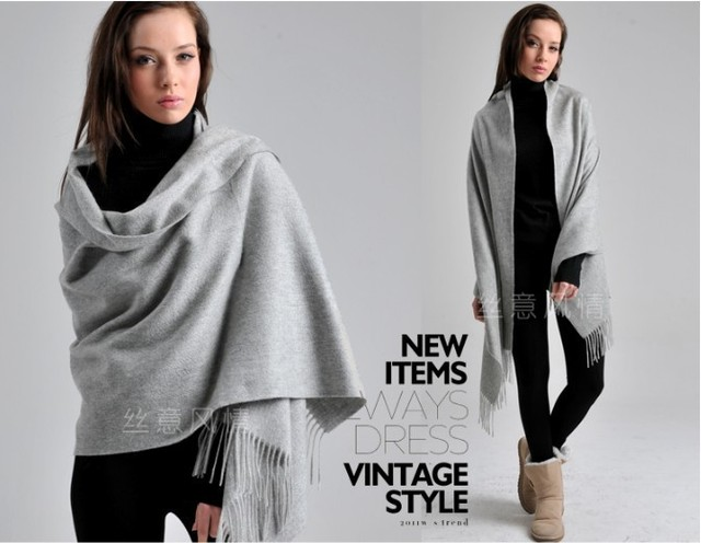 169425ccfe404 Women New Arrival Shawl! Autumn Winter Light Grey 4 Ply 100% Wool ...