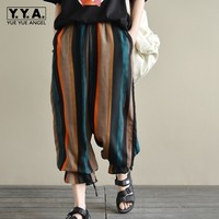 Bohemian Strips Chiffon Bloomers Lace Up Trousers For Women Comfort Slim Fit Pants For Women Summer