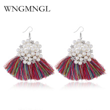 WNGMNGL Boho Pink Yellow Tassel Earrings For Women Bohemian Crystal Dangle Earring Handmade Brincos Statement Jewelry 2018