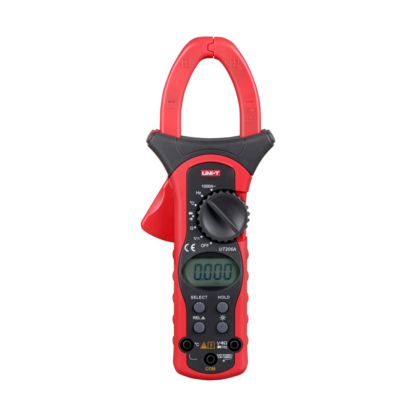 UT206A 3 3/4 Digital Auto Range Digital Clamp Multimeters1000A 600V Clamp Meter Ammeter Voltmeter with Temperature LCD Backlight new 3 in 1 digital led car voltmeter thermometer auto car usb charger 12v 24v temperature meter voltmeter