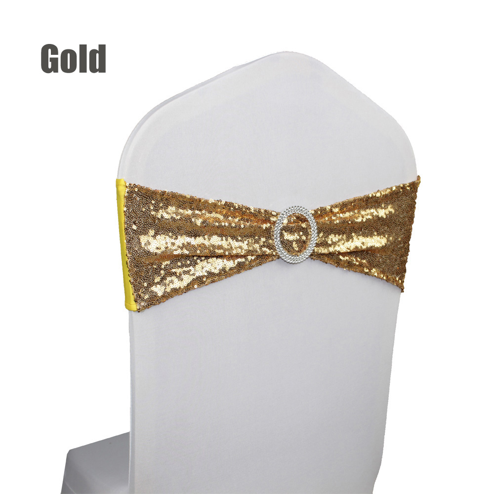 Hot 100pc/lot Round Buckle Elastic Spandex Chair Sash Band With Gold/Silver Sequin For Wedding Party Ceremony Banquet Decoration