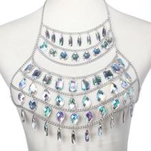 Rhinestone Body Chain Women Water Drop Belly Chain Skirt Waist Chain Belt