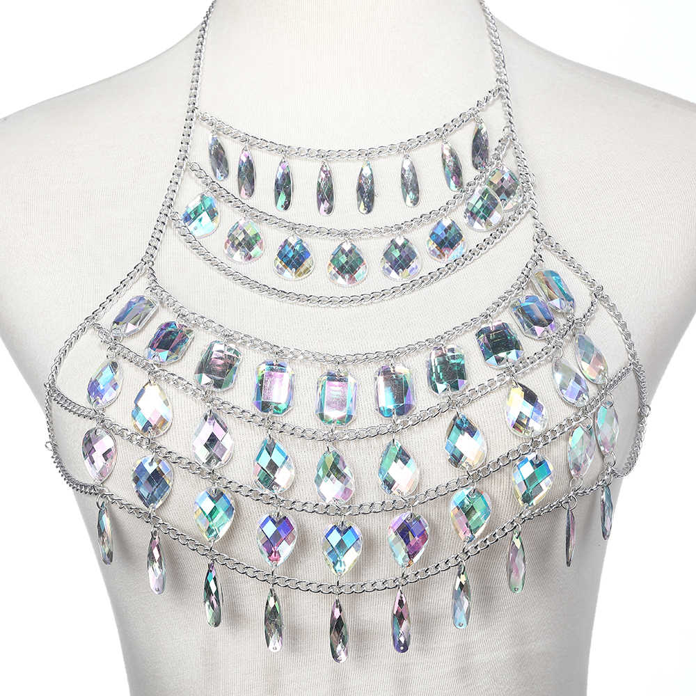... Rhinestone body chain women water drop belly chain skirt waist chain  belt luxury bodychain Festival outfit ... 3bd457beb9be