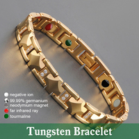 Hottime Magnetic Tungsten Bracelets 5 in 1 Bio Elements Energy Health Fine Jewelry Gold Color Tungsten Steel Germanium Bracelet
