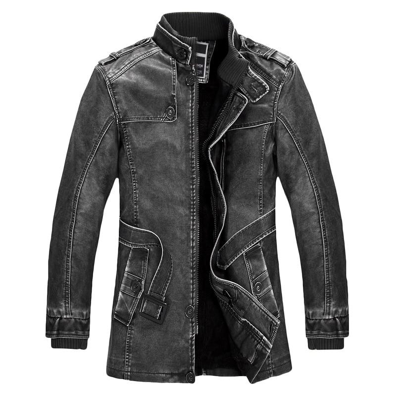 Standing Collar High Quality <font><b>Leather</b></font> Jacket For Men Slim Warm Mens Washed <font><b>Leather</b></font> Motorcycle Biker Jackets